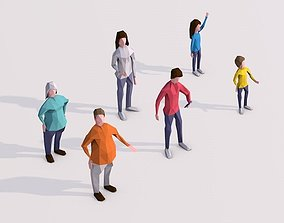 Cartoon Lowpoly People Characters Rigged 3D asset