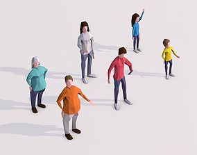 3D model Cartoon Lowpoly People Characters Rigged