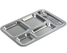 3D Food Tray With Cutlery