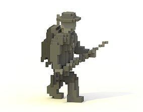 3D asset WWI Soldier Voxel Model