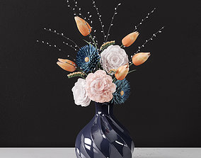 3D Decor bouquet of flowers in a glass vase