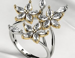 3D print model Marquise Flowers Gold Ring