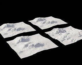 4 Landscape 3D models normals
