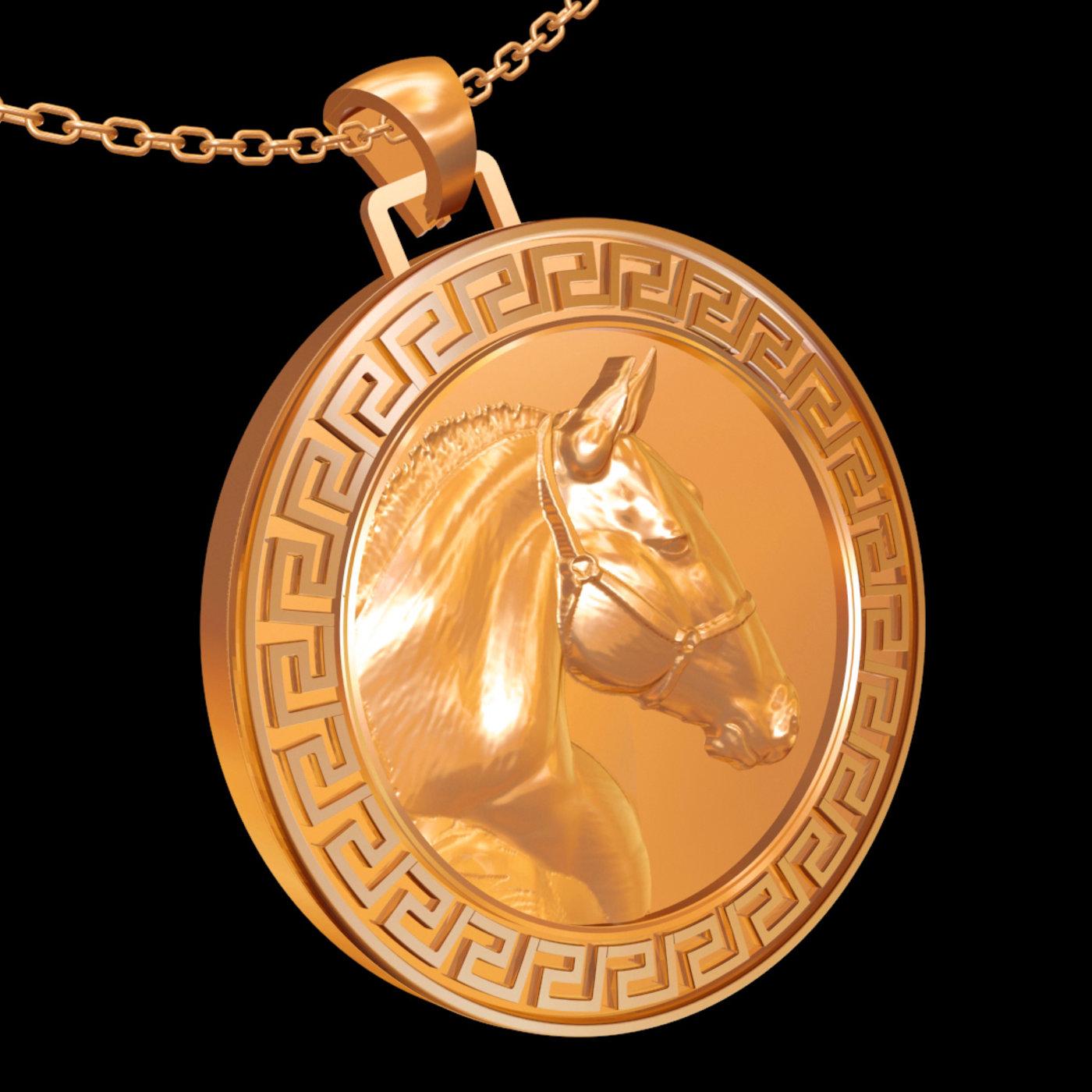 Horse Head medallion Statue Sculpture pendant jewelry gold 3D print model