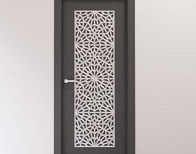 3D Dark gray door with silver carving