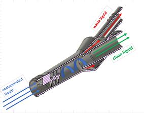 3D print model Cyclone separator filter for liquids 1 4