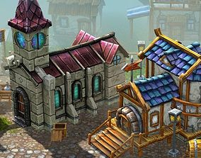3D model animated Hand Painted Village