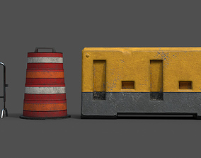 3D model low-poly cone Barrier