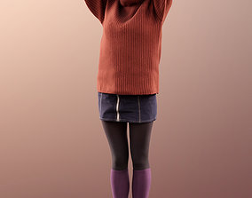 11524 Alyssa - young woman holding up hair 3D