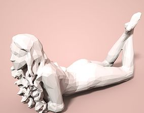 Girl Low poly Sculpture 3D printable model woman