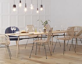 3D Scandinavian Style Interior Dining Table Scene