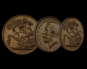 Coin - George V Sovereign 3D asset game-ready