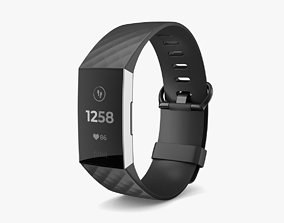 Fitbit Charge 3 Black 3D