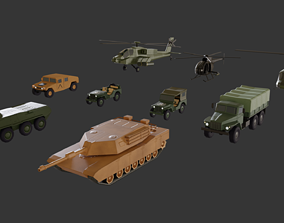 3D model LowPoly Military Veichles Pack