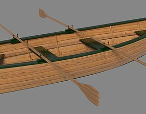 3D model Full textured schiff with oars and blender
