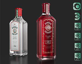 3D Bombay Dry Gin Bramble bottles set 03