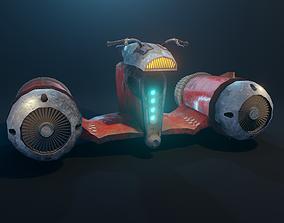 Retro futuristic flying motorbike 3D model