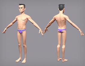 Cartoon male character Den base mesh 3D model low-poly
