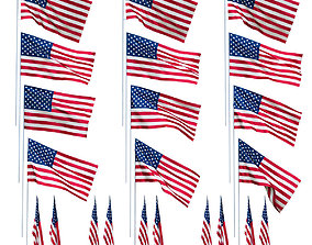 USA flags in the wind 3D