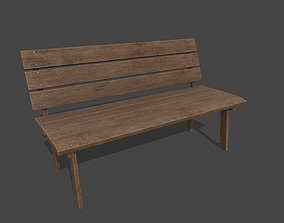 3D asset Wooden Bench PBR 4K