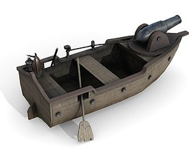 Warship with Cannon 1 3D asset