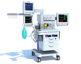 3D model Anesthesia Respiratory Workstation Machine