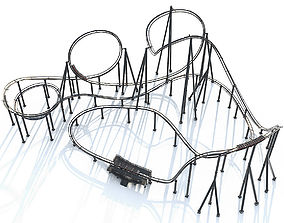 Roller Coaster Track and Train 3D