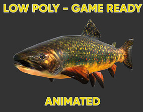 Low poly Brown Trout Fish Animated - Game Ready 3D model