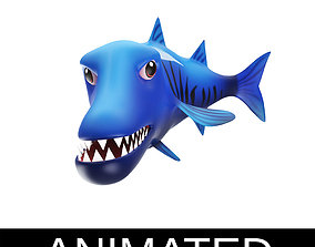 Gaint Barracuda Animated Fish Toon 3D asset