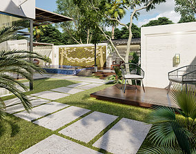 your luxury backyard design with swimming pool 3D