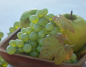 Fruit Bowl - Grapes Leaves Apples Cut Damast 3D model 1