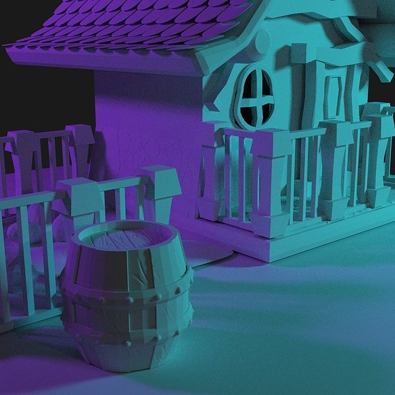 Little lowpoly house in candy light