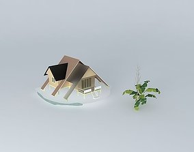 Small vacation cottage cableway 3D