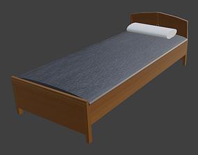 PLAIN WOODEN BED FOR DECORATION 3D model
