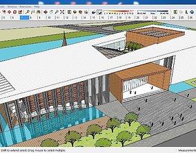 3D model Sketchup Cultural center E10