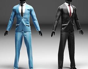 Men s classic suit in two versions black blue 3D model