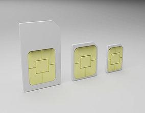 3D asset Realistic Sim Cards Collection Set