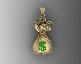Money Bag pendant silver 3D printable model