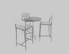 3D model High Discussion Table rectangle chair