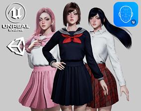School Girls - Game Ready 3D asset