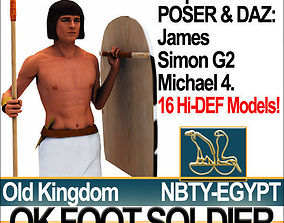 3D model Ancient Egyptian OK Foot Soldier Props Set Poser