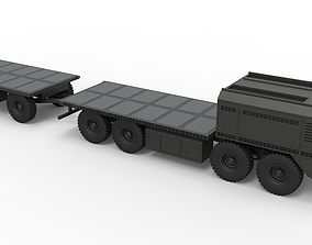 3D Military truck with trailer
