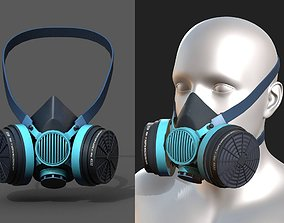 Gas mask helmet 3d safety isolated fantasy game-ready