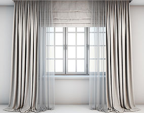 Light beige curtains 3D model