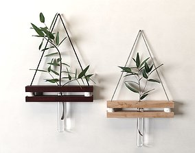 Hanging Tube Vases with Plants 3D model