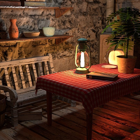 Cozy hut interior scene