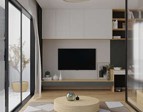 3D model Modern Realistic guest room and bedroom