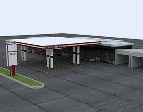 station free Gas Station 3D model realtime
