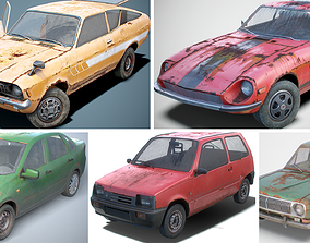 Lowpoly Pbr Cars Set 3D model gaz