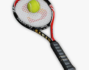 Tennis Racket and Ball03 3D model